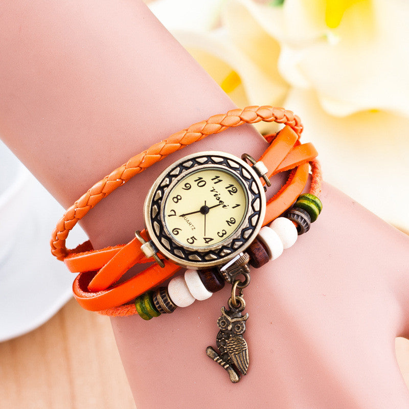 Retro Owl Pendant Woven Bracelet Watch - Oh Yours Fashion - 7
