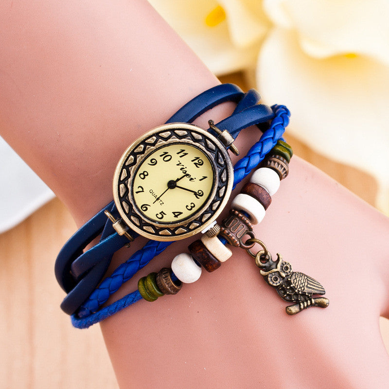 Retro Owl Pendant Woven Bracelet Watch - Oh Yours Fashion - 5