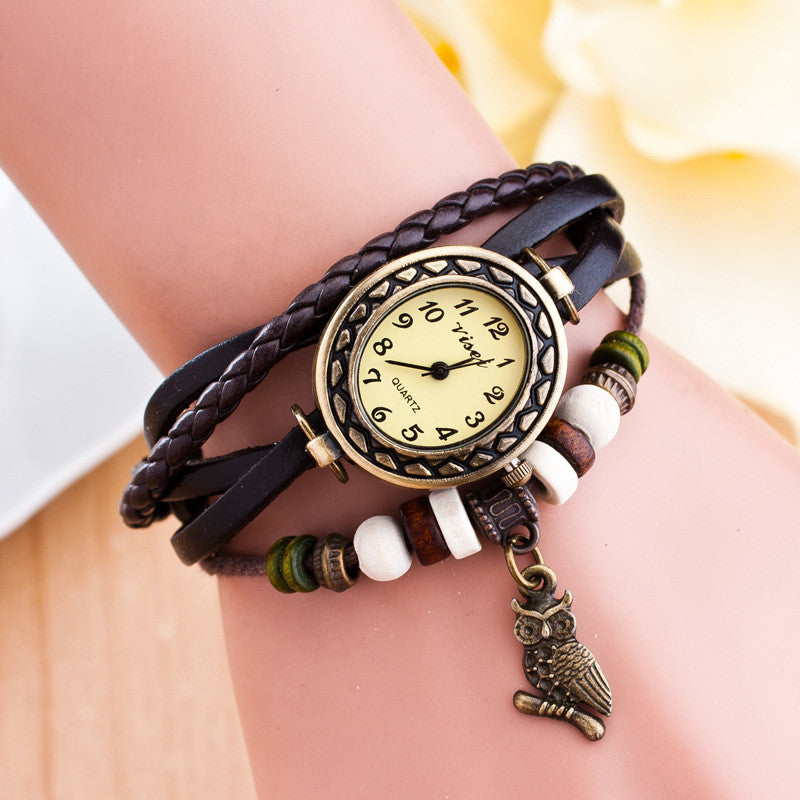 Retro Owl Pendant Woven Bracelet Watch - Oh Yours Fashion - 8