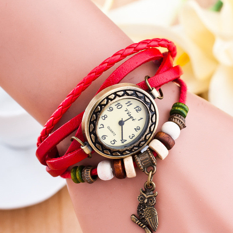 Retro Owl Pendant Woven Bracelet Watch - Oh Yours Fashion - 2