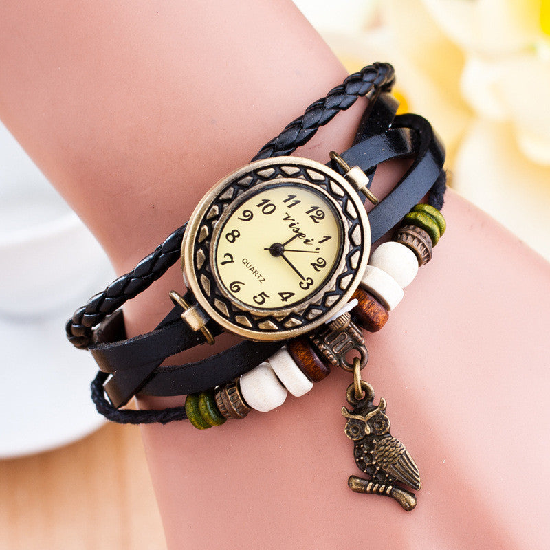 Retro Owl Pendant Woven Bracelet Watch - Oh Yours Fashion - 6