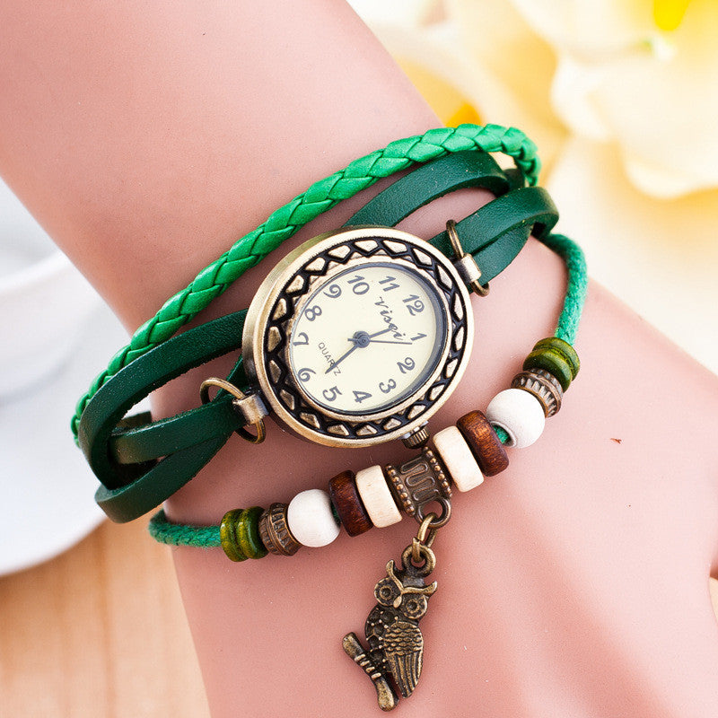 Retro Owl Pendant Woven Bracelet Watch - Oh Yours Fashion - 4