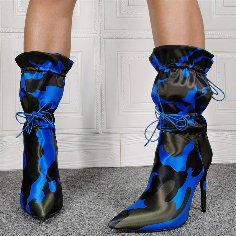 Sexy Camo Point Toe Strap Calf Boots