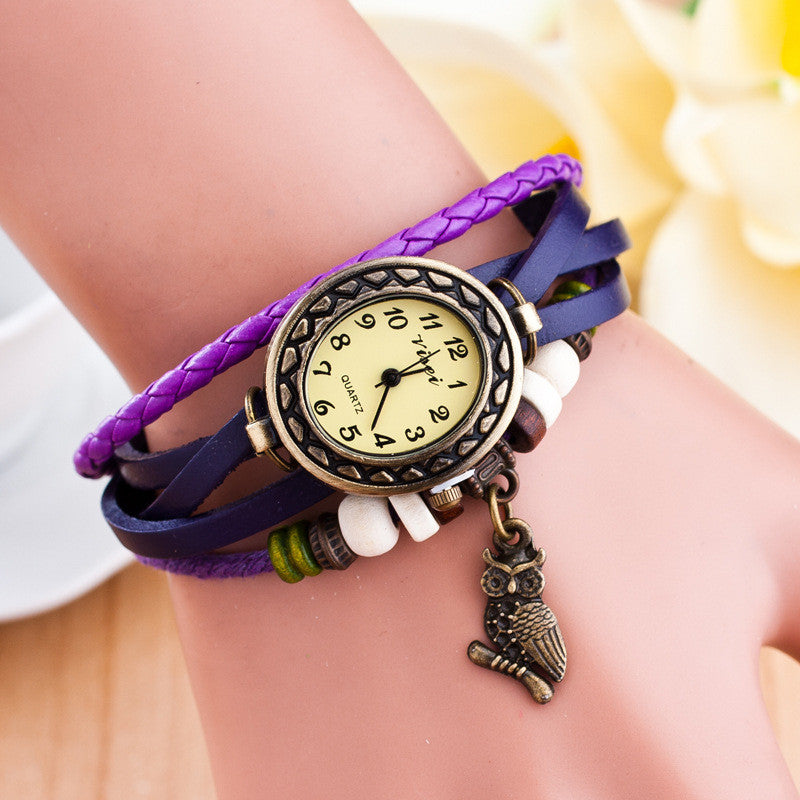 Retro Owl Pendant Woven Bracelet Watch - Oh Yours Fashion - 3