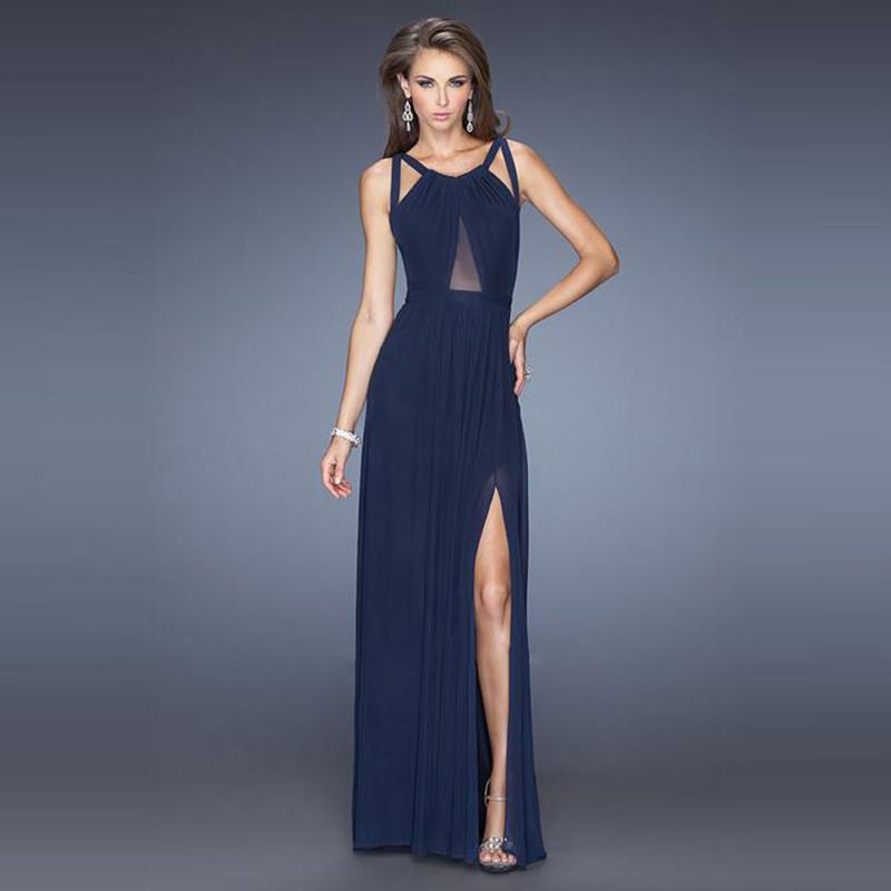 Back Cross Scoop Sleeveless Split Floor-length Solid Club Dress - Meet Yours Fashion - 6