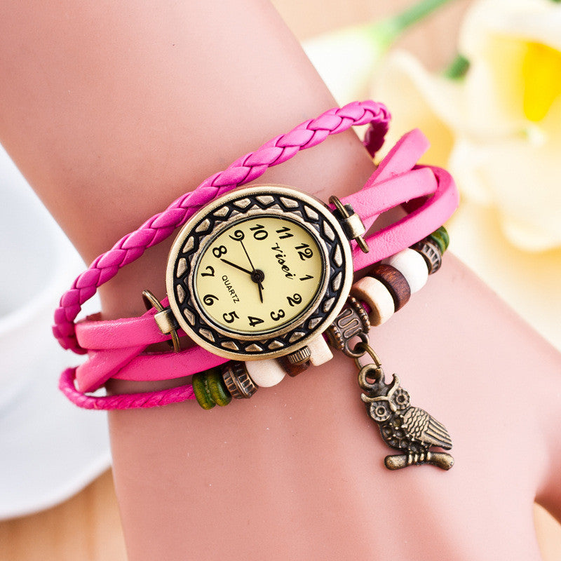 Retro Owl Pendant Woven Bracelet Watch - Oh Yours Fashion - 9