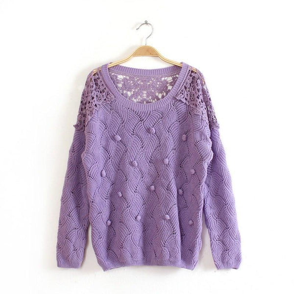 Lace Crochet Hollow Out Pullover Sweater - MeetYoursFashion - 1