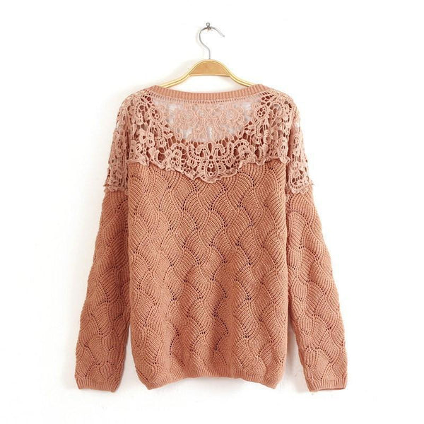 Lace Crochet Hollow Out Pullover Sweater - MeetYoursFashion - 2