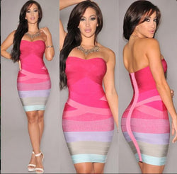 Sexy Strapless Contrast Color Back Zipper Bodycon Short Dress - Oh Yours Fashion - 1