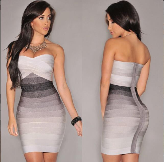Sexy Strapless Contrast Color Back Zipper Bodycon Short Dress - Oh Yours Fashion - 5