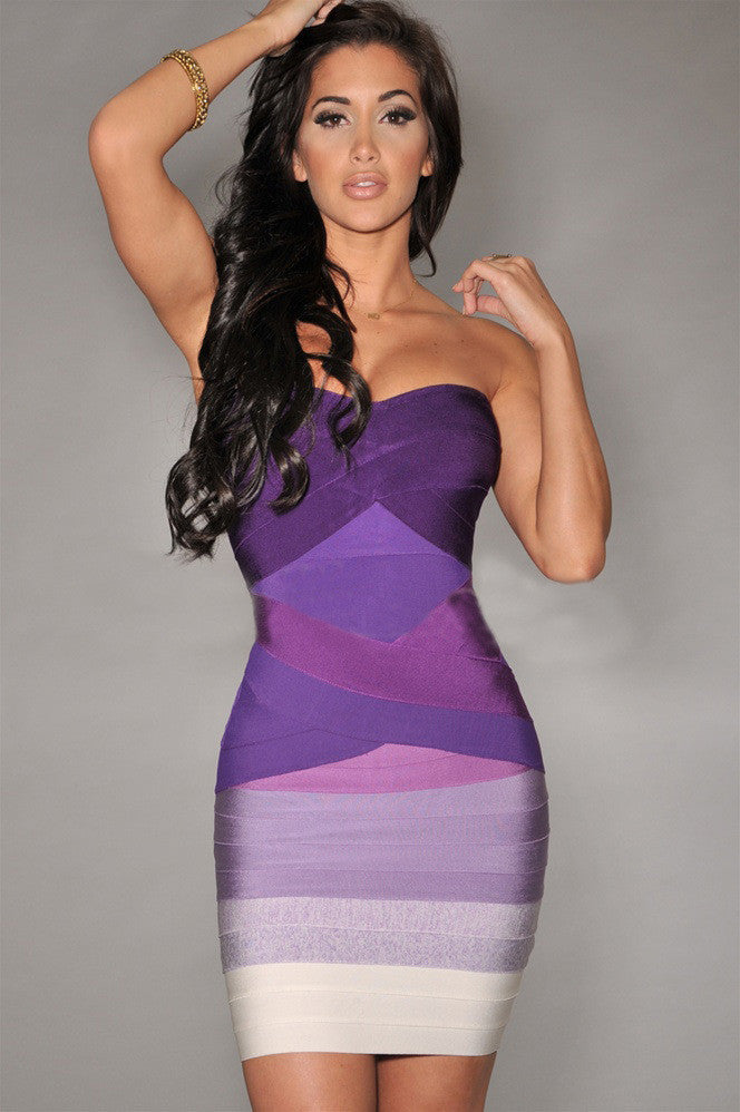 Sexy Strapless Contrast Color Back Zipper Bodycon Short Dress - Oh Yours Fashion - 4