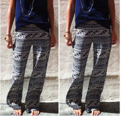 Fashion Wide Legs Straight Flower Print Pants - Oh Yours Fashion - 1