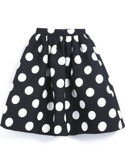 Black And White Dots Print A-line Middle Skirt - Oh Yours Fashion - 4