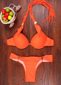 Pure Color Padded Straps Twp Pieces Swimwear