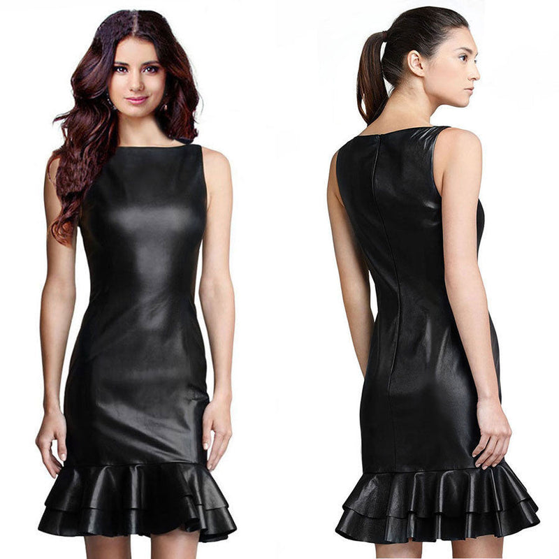 OL Splicing Faux Fur Ruffled Sleeveless Bodycon Knee-Length Dress - Oh Yours Fashion - 1