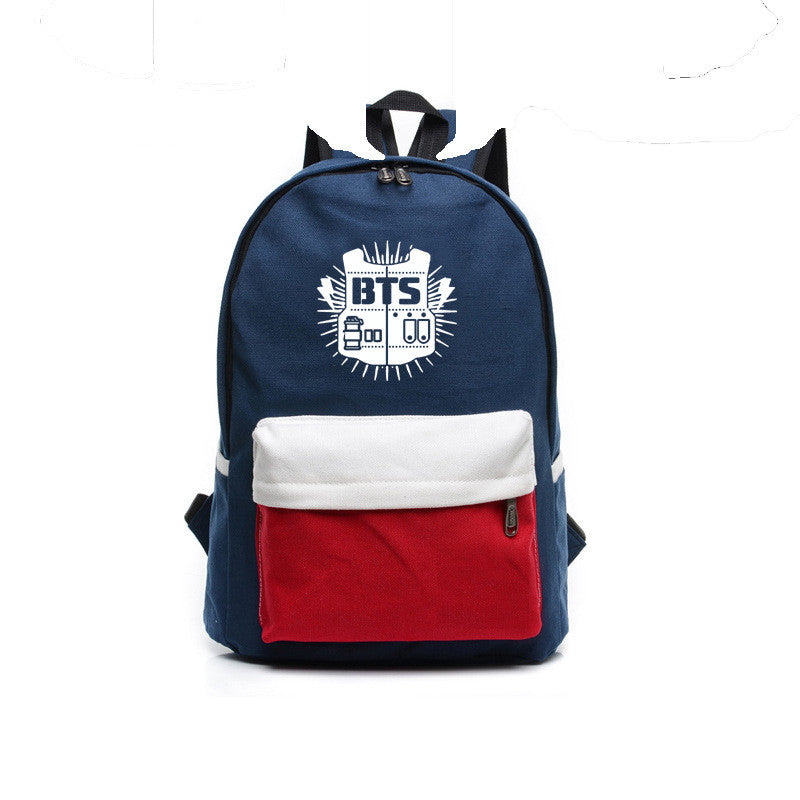 Contrast Color Canvas Letter Print School Backpack - Oh Yours Fashion - 1