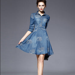 Flower Button POLO-neck Short Sleeve Knee-length Dress - Oh Yours Fashion - 1