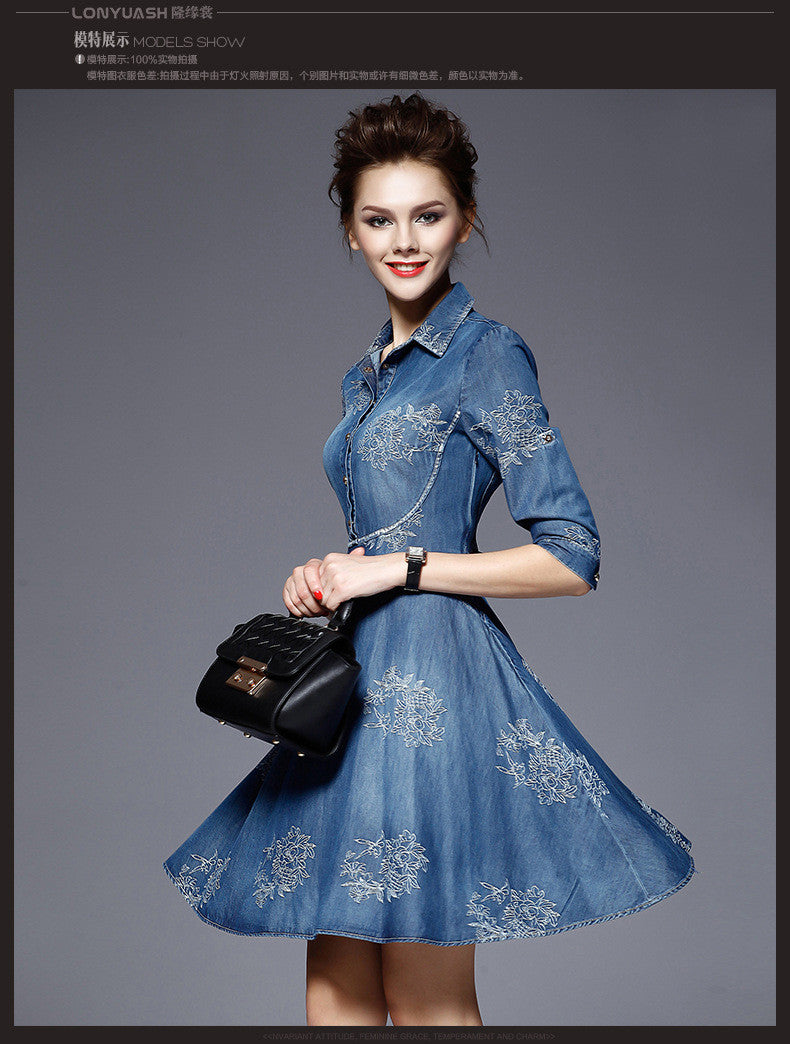 Flower Button POLO-neck Short Sleeve Knee-length Dress - Oh Yours Fashion - 2