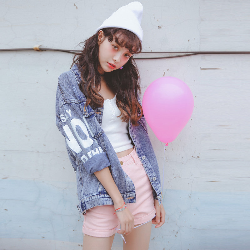 Print Stand Collar Loose Denim Short Coat - Oh Yours Fashion - 6