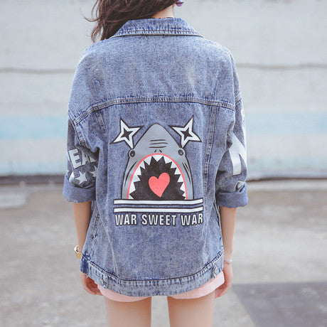 Print Stand Collar Loose Denim Short Coat - Oh Yours Fashion - 1