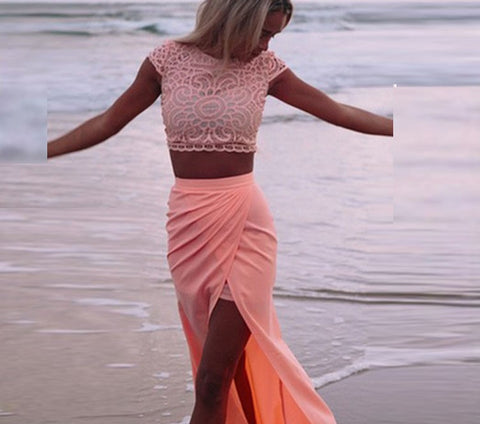 Scoop Lace Crop Top Split Long Skirt Dress Suit