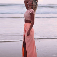 Scoop Lace Crop Top Split Long Skirt Dress Suit - Oh Yours Fashion - 5