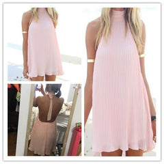 Backless Sleeveless Loose Beach Short Dress - Oh Yours Fashion - 2