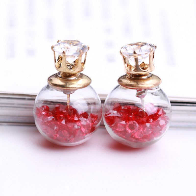 Color Quicksand Zircon Crystal Ball Earring - Oh Yours Fashion - 15