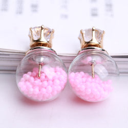 Color Quicksand Zircon Crystal Ball Earring - Oh Yours Fashion - 2