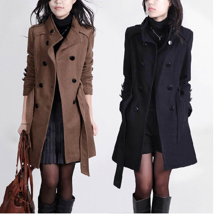 Double Breasted Stand Collar Belt Slim Long Plus Size Coat - Oh Yours Fashion - 1