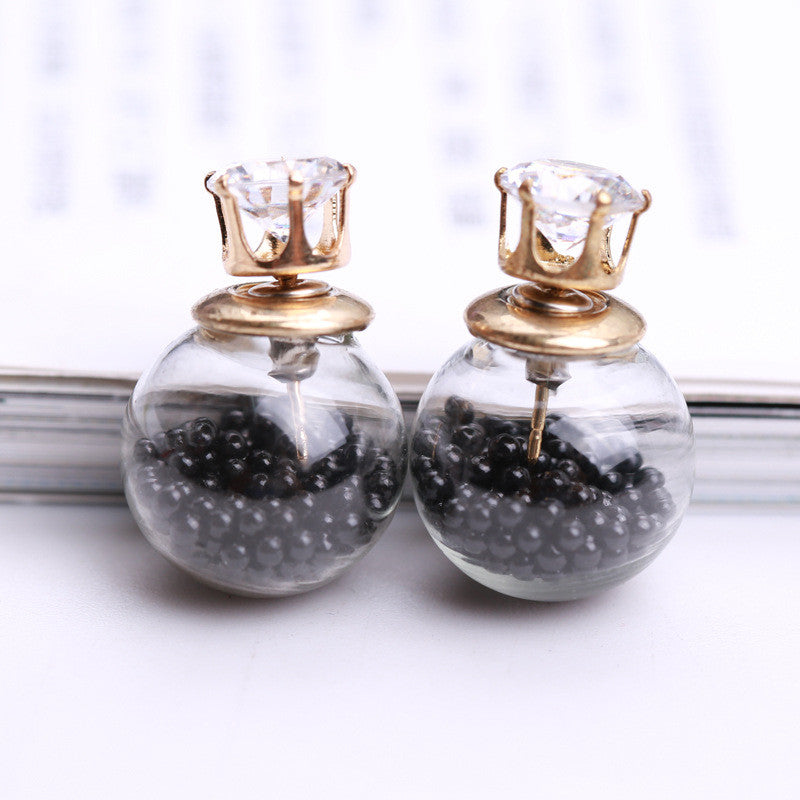 Color Quicksand Zircon Crystal Ball Earring - Oh Yours Fashion - 17
