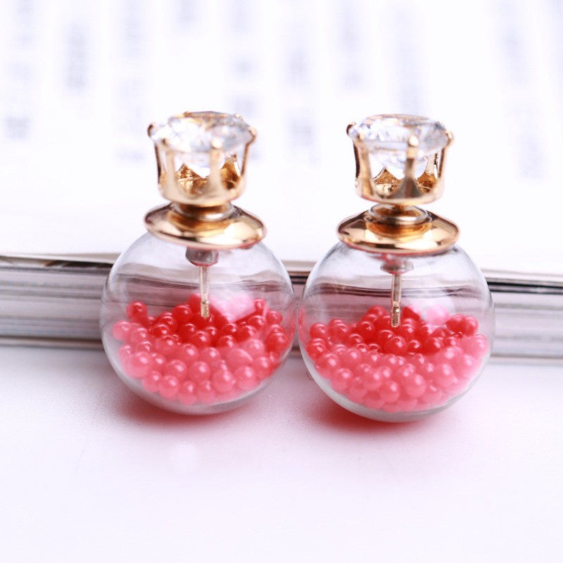 Color Quicksand Zircon Crystal Ball Earring - Oh Yours Fashion - 21