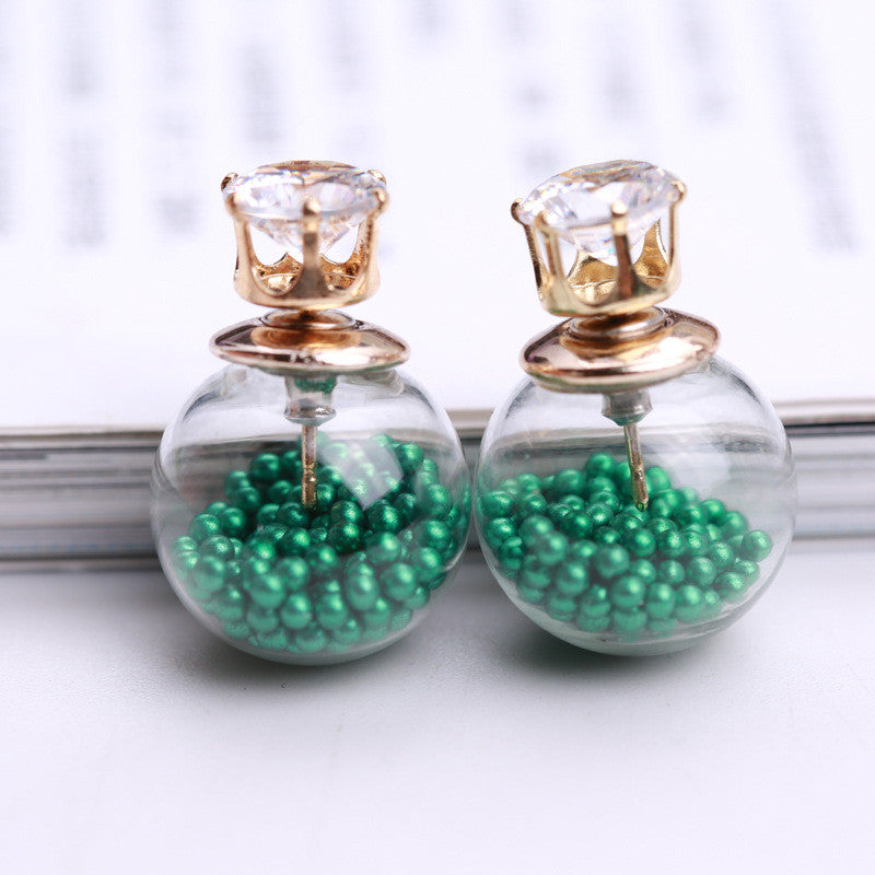 Color Quicksand Zircon Crystal Ball Earring - Oh Yours Fashion - 18