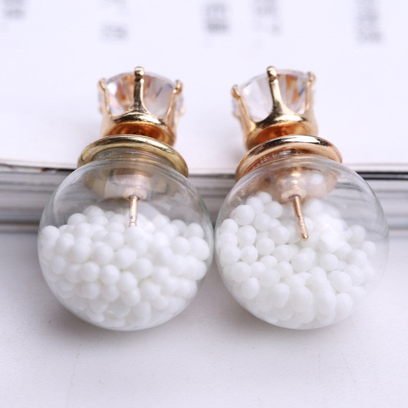 Color Quicksand Zircon Crystal Ball Earring - Oh Yours Fashion - 20