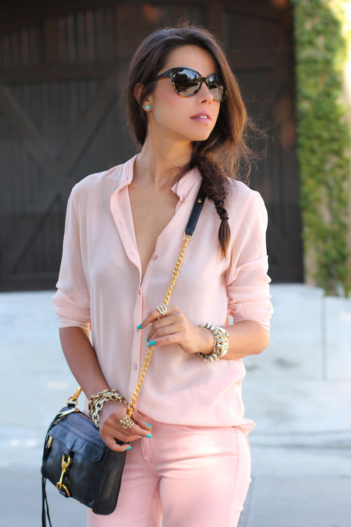 Long Sleeves Pure Color V-neck Slim Blouse - Oh Yours Fashion - 2