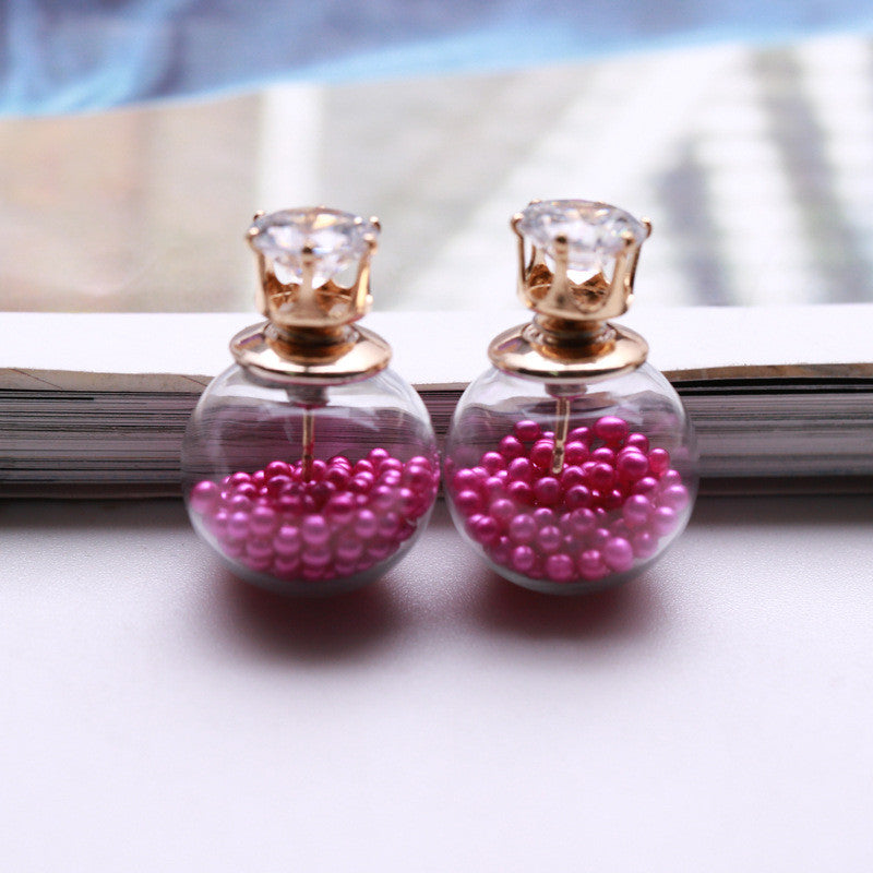 Color Quicksand Zircon Crystal Ball Earring - Oh Yours Fashion - 3