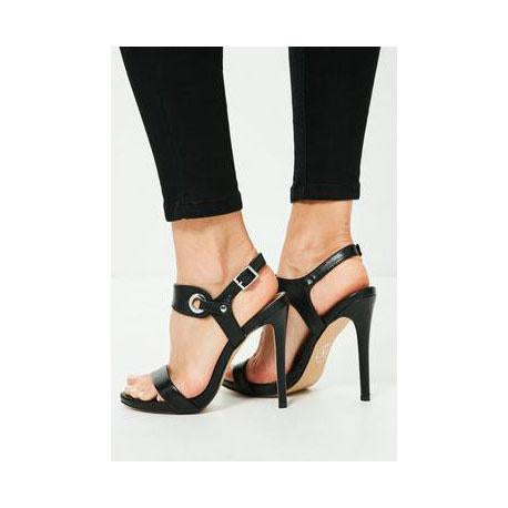 a229adfb691b 2018 Simple Style Open Toe Ankle Wrap Stiletto High Heel Black Pumps Sandals