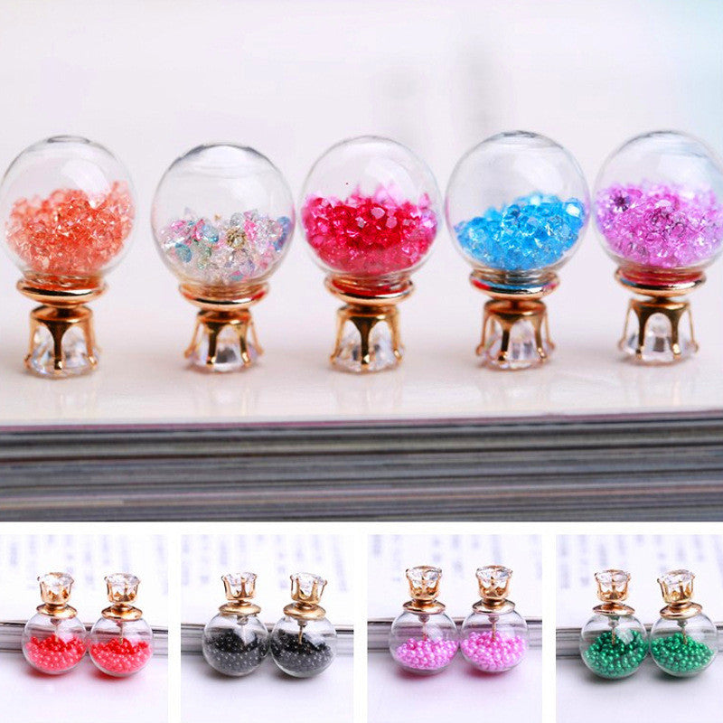 Color Quicksand Zircon Crystal Ball Earring - Oh Yours Fashion - 1