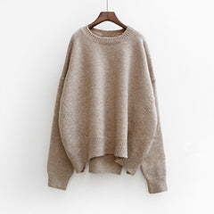 Batwing Pure Color Pullover Loose Knit Sweater - Oh Yours Fashion - 1