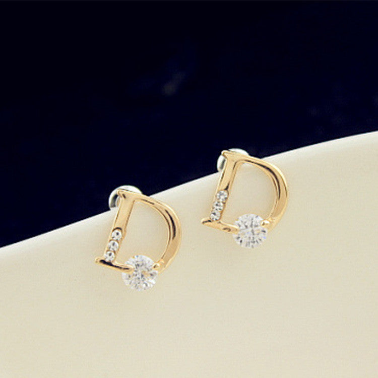 Crystal Letter D Golden Earrings - Oh Yours Fashion - 6