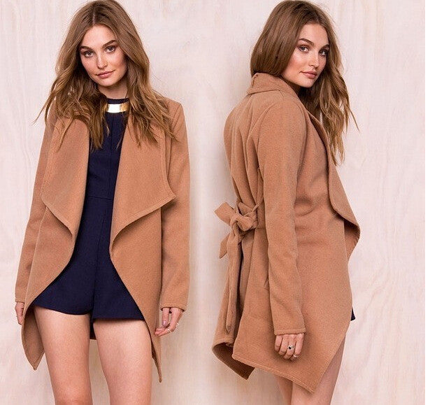 Khaki Long Sleeve Lapel Pockets Long Coat