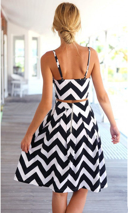 Striped Spaghetti Strap Crop Top Pleated Knee-length Skirt Dress Suit - Oh Yours Fashion - 4