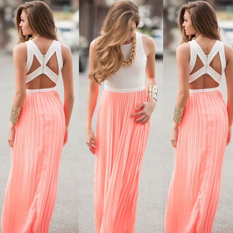 Chiffon Scoop Sleeveless Backless Long Dress - Oh Yours Fashion - 1