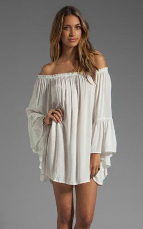 Chiffon Off-shoulder Long Sleeves Irregular Short Dress - Oh Yours Fashion - 2