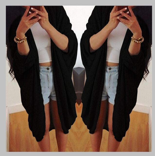 Batwing Solid Pleated Loose Long Cardigan - Oh Yours Fashion - 3
