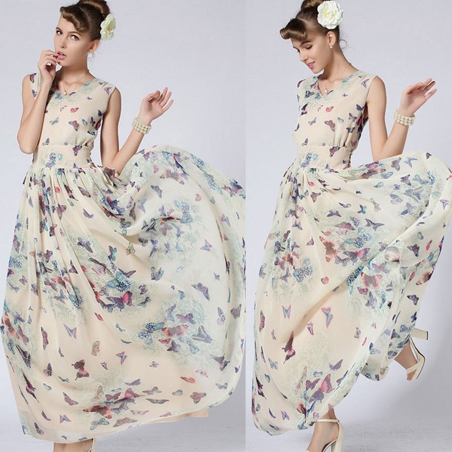 Butterfly Floral Print Sleeveless Long Chiffon Dress - Oh Yours Fashion - 1