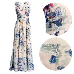 Butterfly Floral Print Sleeveless Long Chiffon Dress - Oh Yours Fashion - 7