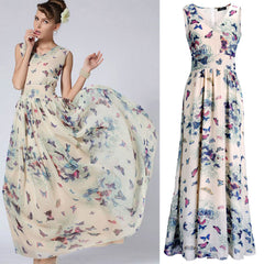 Butterfly Floral Print Sleeveless Long Chiffon Dress - Oh Yours Fashion - 6