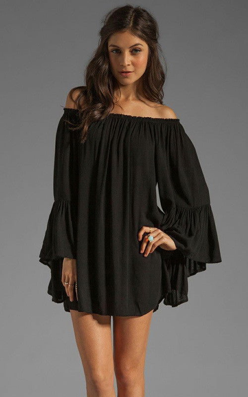 Chiffon Off-shoulder Long Sleeves Irregular Short Dress - Oh Yours Fashion - 4