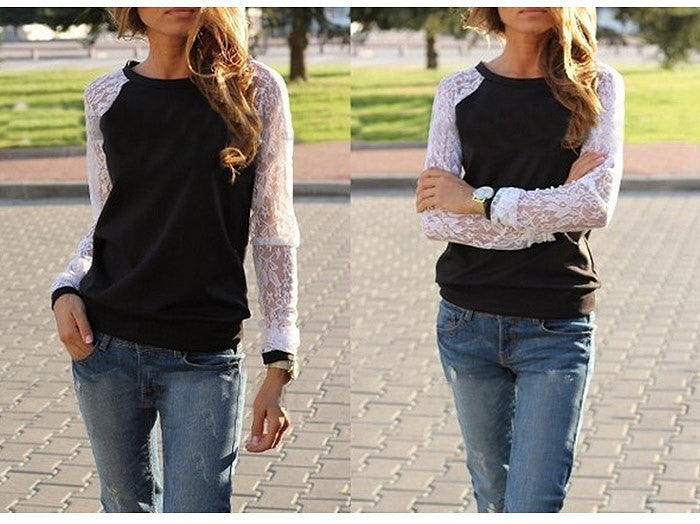 Lace Splicing Scoop Pullover Loose Long Sleeve T-shirt - Oh Yours Fashion - 5